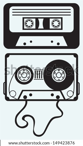 Audio cassette tape isolated on blue background - stock vector