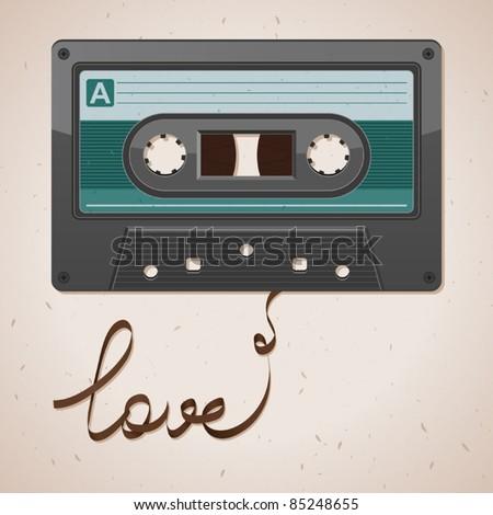 Audio cassette tape on old paper. Film written love - stock vector