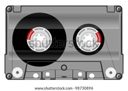 audio cassette with a transparent body - stock vector