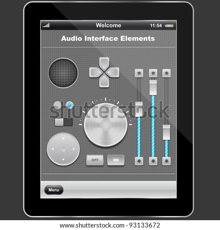 Audio elements design and tablet pc,vector - stock vector