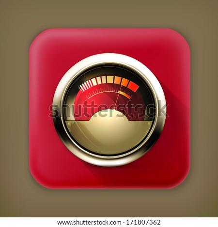 Audio Gauge, long shadow vector icon - stock vector