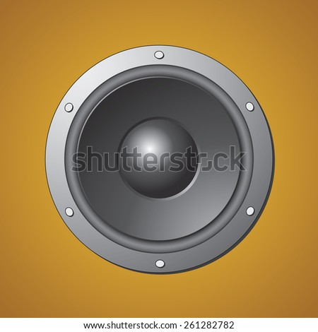 Audio Loud Speaker on Brown Background. Vector Illustration