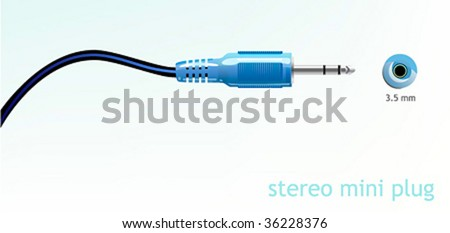 Audio mini plug. Vector illustration. - stock vector