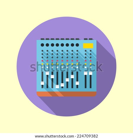 Audio mixer 8 channels icon. Flat design long shadow. Vector illustration. - stock vector