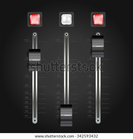 audio mixing console on black. vector - stock vector