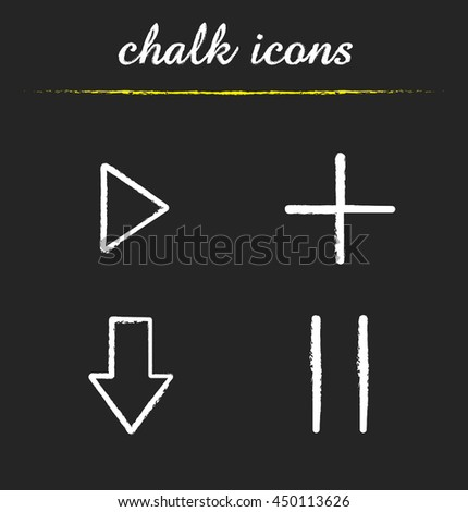 Audio player chalk icons set. Play, add, download, pause buttons. Isolated vector chalkboard illustrations - stock vector