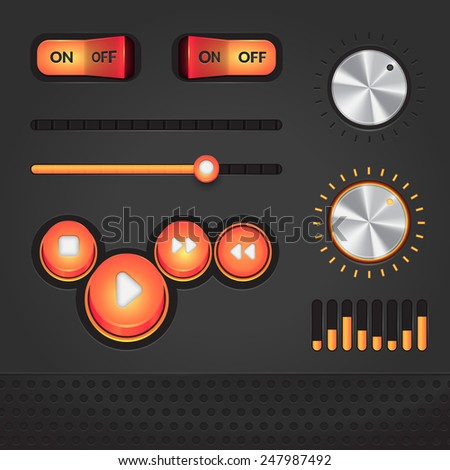 Audio player dark vector GUI elements, orange on dark gray