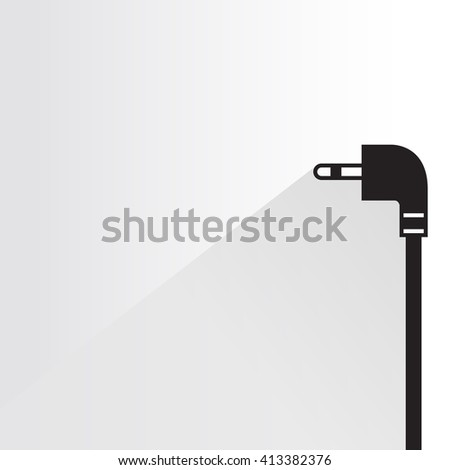 audio plug, gadget plug on white background, flat and shadow theme