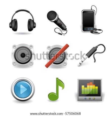 audio premium icons - stock vector