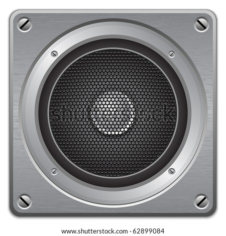 Audio speaker on metal plate, vector