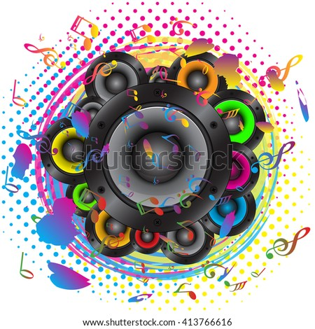 Audio speaker with colorful musical note background - stock vector
