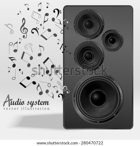 Audio speaker with flying out nones and treble clef. Studio monitor. Subwoofer, front view. Vector illustration. - stock vector
