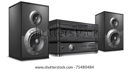 sound system clipart. audio system, music center on white, vector illustration sound system clipart