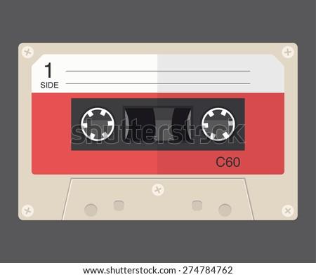 Audio tape cassette record, flat design. - stock vector