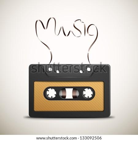 Audio tape (retro music). Eps 10 - stock vector