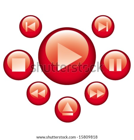 audio video control buttons - stock vector