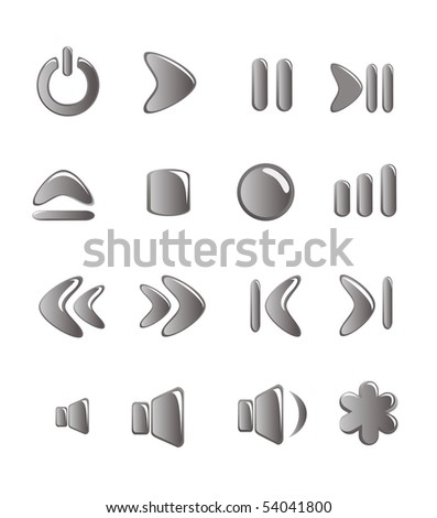 Audio-video control buttons. Vector-Illustration - stock vector