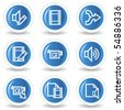 Audio video edit web icons, blue glossy circle buttons - stock vector