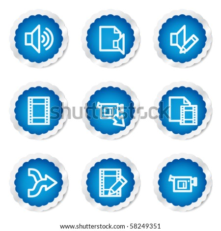 Audio video edit web icons, blue stickers series - stock vector