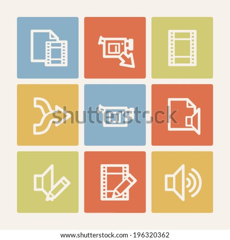 Audio video edit web icons, color square buttons - stock vector