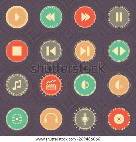 Audio video icons in bright colors. Vector labels. Original design         - stock vector