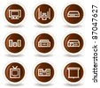 Audio video web icons, chocolate buttons - stock vector