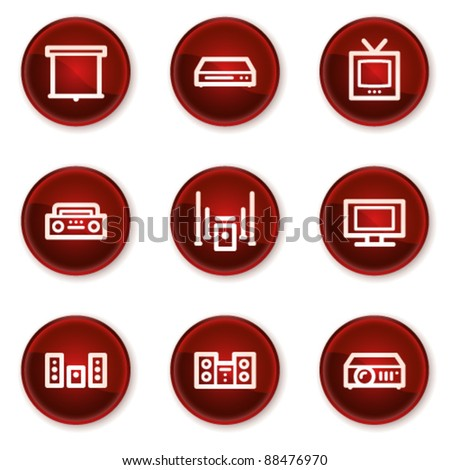 Audio video web icons, dark red circle buttons