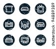 Audio video   web icons, grunge circle buttons - stock vector