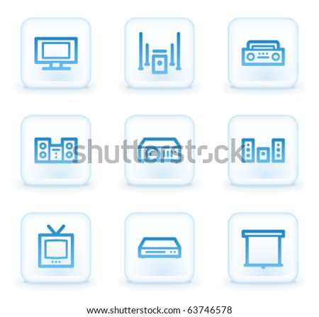 Audio video web icons, white square buttons