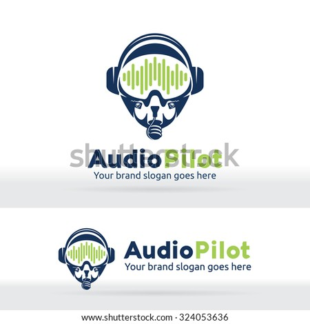 Audio wave graph pilot logo. Sound engineer identity. Music recorder studio. Sound composer industry brand. Head phone product. Sound device product. - stock vector