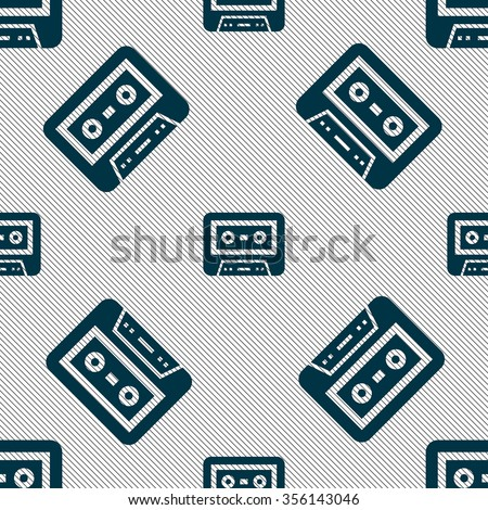 audiocassette icon sign. Seamless pattern with geometric texture. Vector illustration - stock vector
