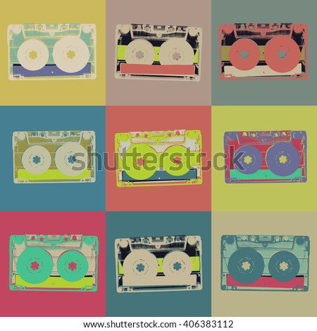 Audiocassette retro popart background. Seamless pattern - stock vector