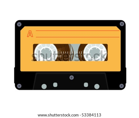 Audiocassette 1980s style - stock vector