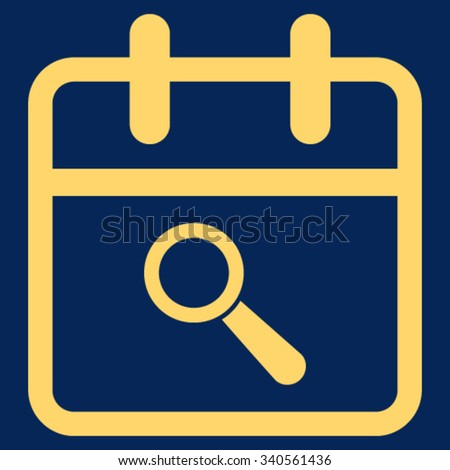 Audit Date vector icon. Style is flat symbol, yellow color, rounded angles, blue background. - stock vector
