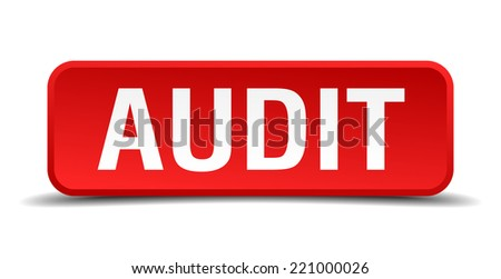 Audit red three-dimensional square button isolated on white background