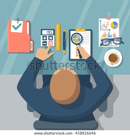 Auditing concepts. Auditor at table during examination of financial report. Tax process. Research, project management, planning, accounting, analysis, data. Vector illustration flat style. - stock vector