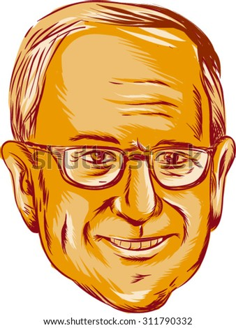 """AUG. 31, 2015: Vector illustration  showing Bernard """"Bernie"""" Sanders, American Senator, elected politician and Democratic party member on isolated background done in etching sketch style. - stock vector"""
