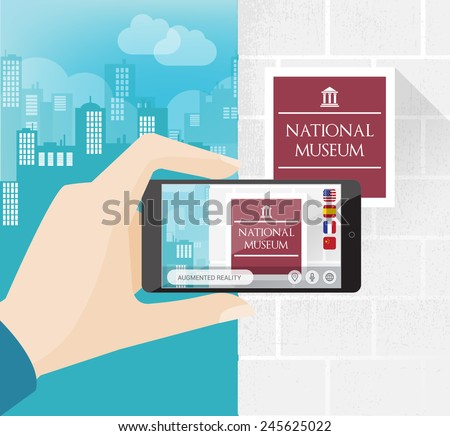 Augmented reality city mobile app with translator and cityscape on background - stock vector