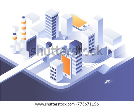 Augmented reality concept. Smart city technology. Simple low poly architecture. 3d vector isometric illustration.
