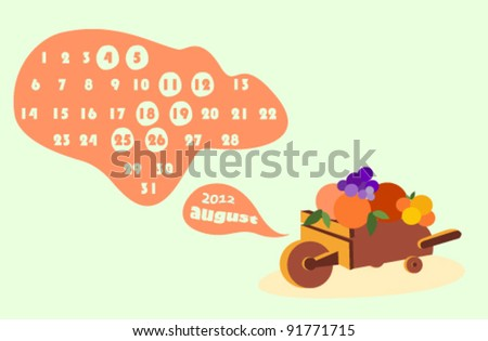 august 2012 colorful calendar illustration with fruits - stock vector