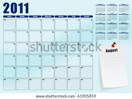 August desk planner for 2011 - stock vector