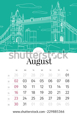 August. Hand drawn calendar. 2015 - stock vector