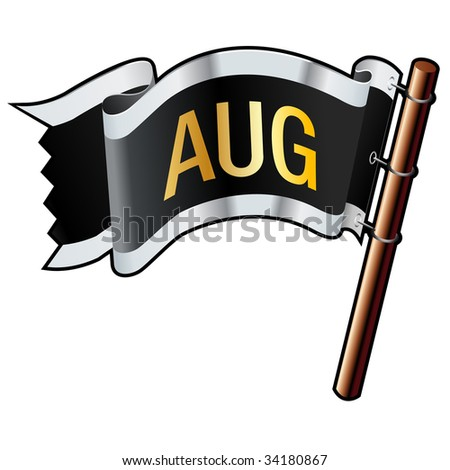August month calendar icon on black, silver, and gold vector flag good for use on websites, in print, or on promotional materials