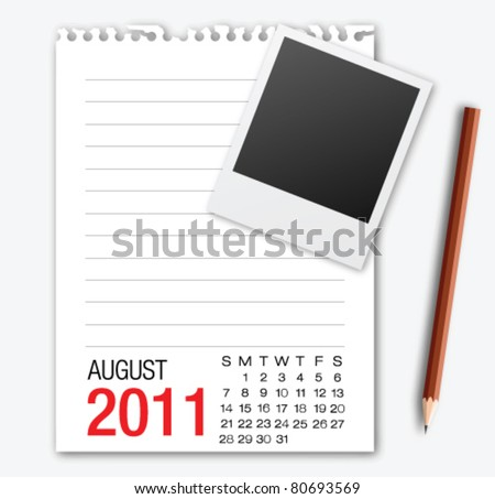 August month calendar note paper with pencil - stock vector