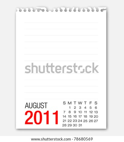 August month calendar 2011 on note paper - stock vector