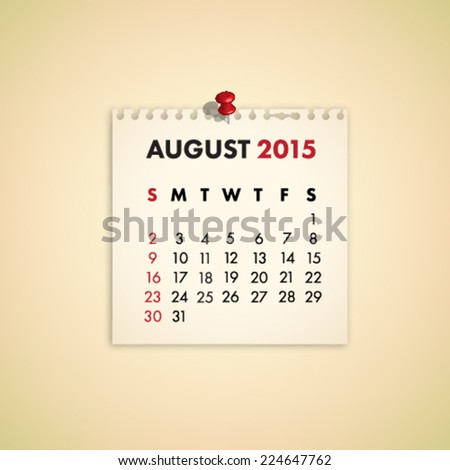 August 2015 Note Paper Calendar Vector - stock vector