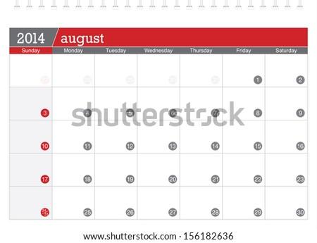 2014 august calendar