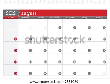 august 2012-planning calendar - stock vector
