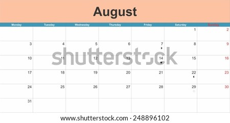 August 2015 planning calendar. Illustration - stock vector
