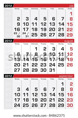August 2012 Three-Month Calendar - stock vector